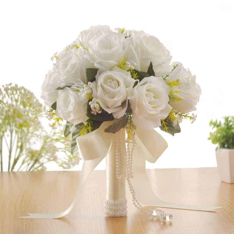 Artificial Wedding Flowers White Roses Bouque