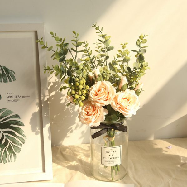 Artificial Flowers Bouquet Mita Rose Eucalyptus Large 1