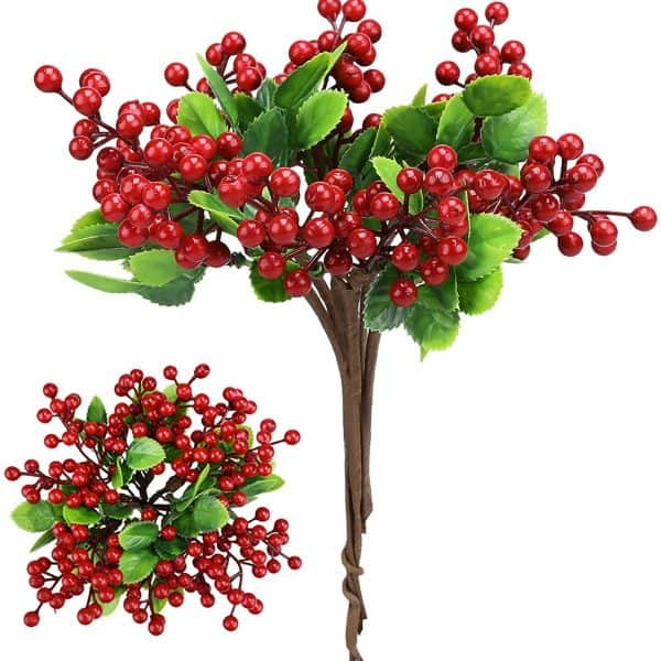 6 Pcs Red Artificial Berry Stems Holly Christmas Berries 1