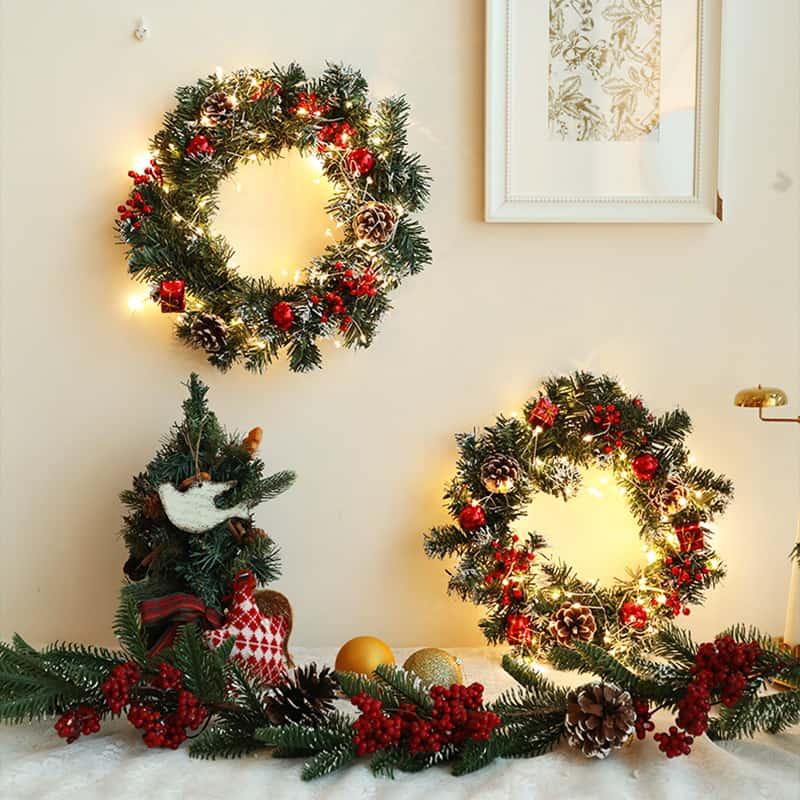 Pre-Lit Led Light Decorated Wreath 4