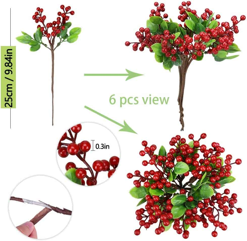 6 Pcs Red Artificial Berry Stems Holly Christmas Berries 8