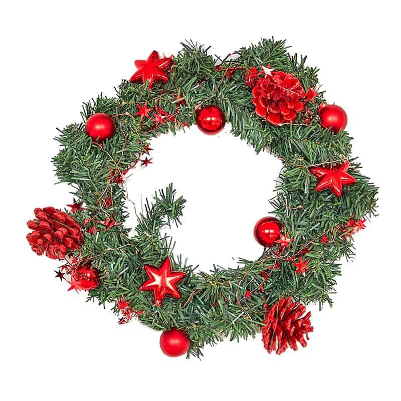 Pre-Lit Led Light Decorated Wreath 1