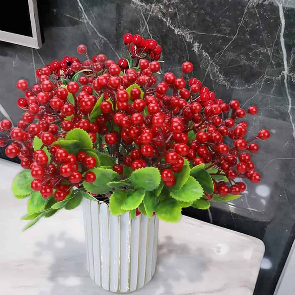 6 Pcs Red Artificial Berry Stems Holly Christmas Berries 2
